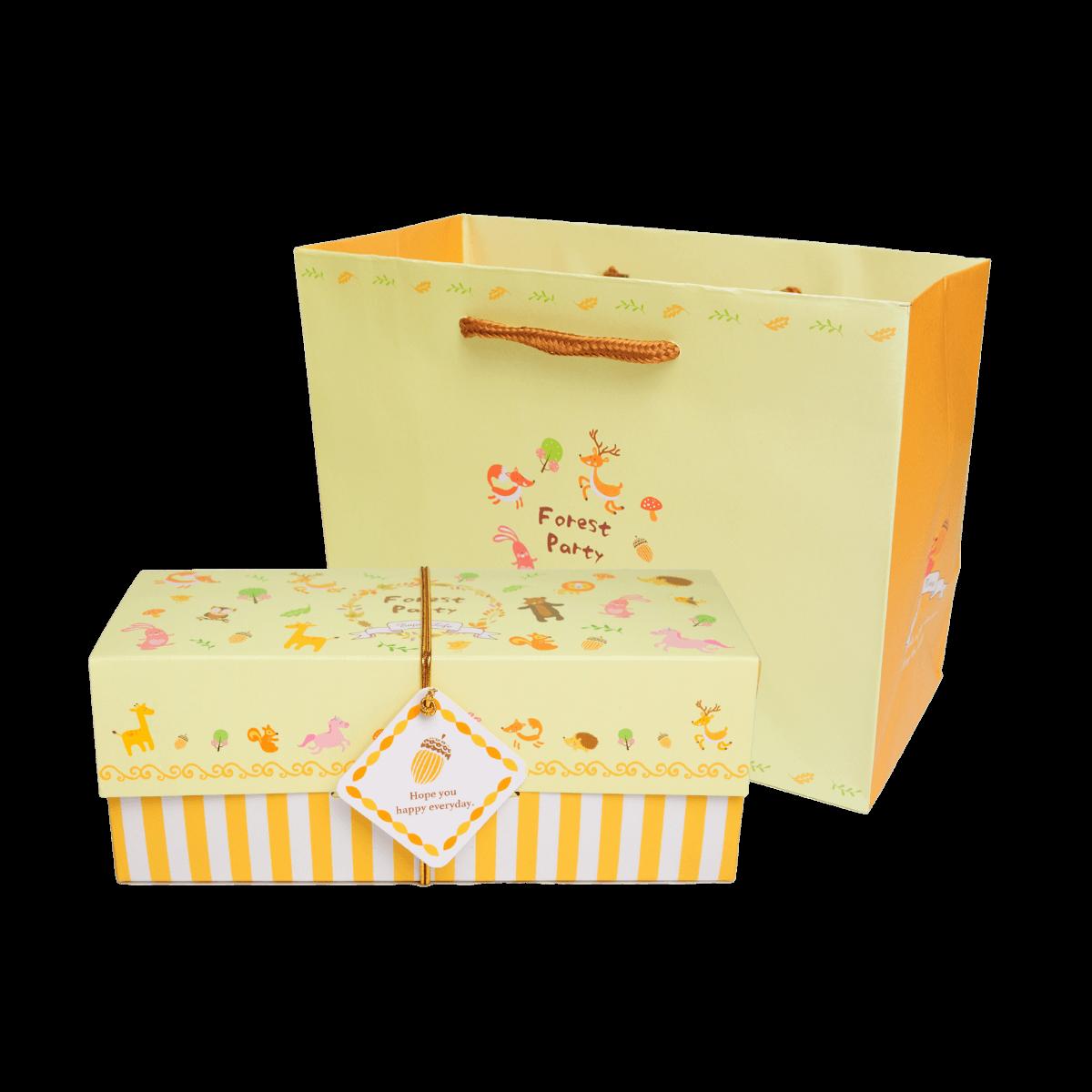 【滿單預購中】童趣森林(小)禮盒 / 彌月禮盒 / 餐盒 / 伴手禮 / 附提袋 / 蝴蝶酥 / 手工餅乾]