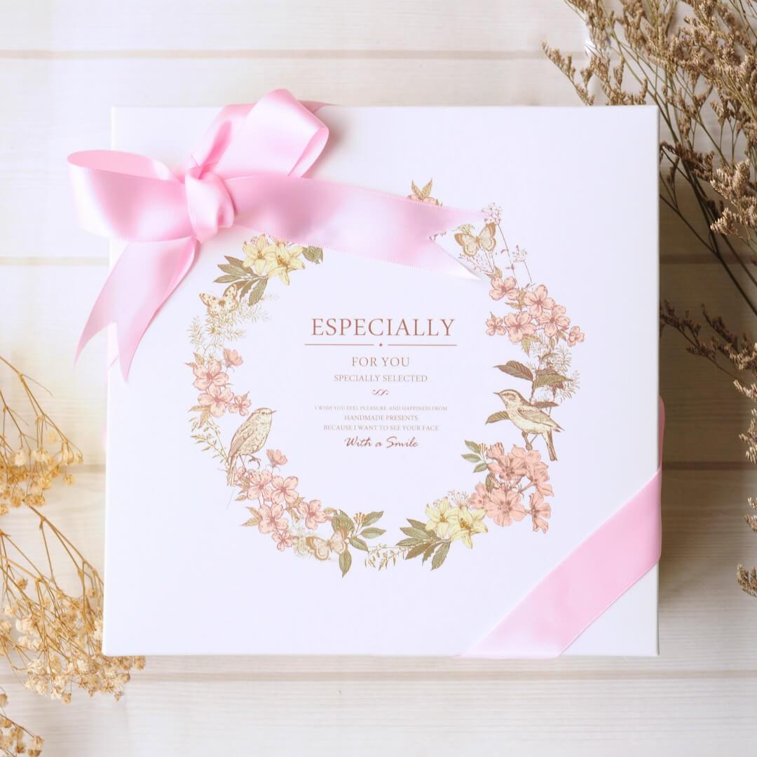 【預購11/8後出貨】幸福花語禮盒 (粉紅緞帶) / 手工喜餅 / 伴手禮 / 附提袋